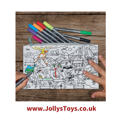 Colour In Decorate Dinosaur Pencil Case Jollystoys Co Uk