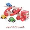 Wooden Transporter Lorry with Cars