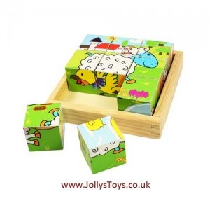 Wooden Farm Animal Cube Puzzle
